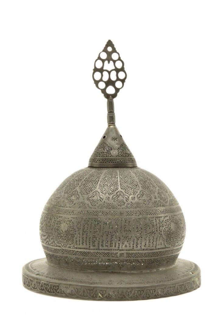 Islamic Tint Brass Mosque Lamp w/Calligraphy