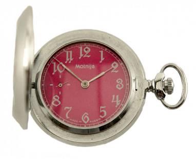 Molnija Pocket Watch wRed Dial
