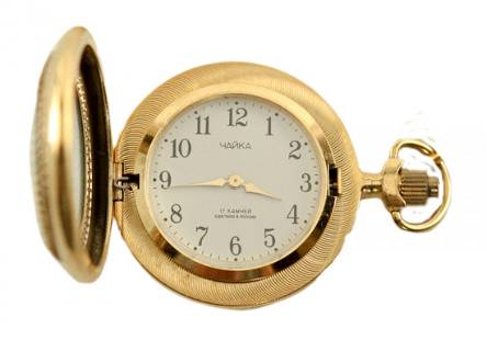 Case pocket watch Chaika made of brass with gilding
