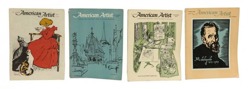 Four American Artist Antique Magazines