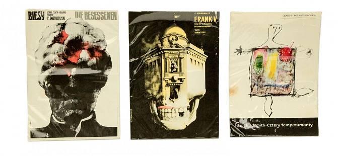 3 Vintage European Posters Sizes 155 x 1125