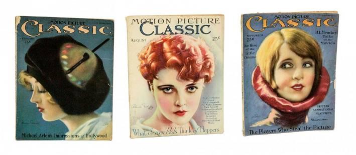 Lot of 3 Rare Antique Motion Pictures Classic Magazines