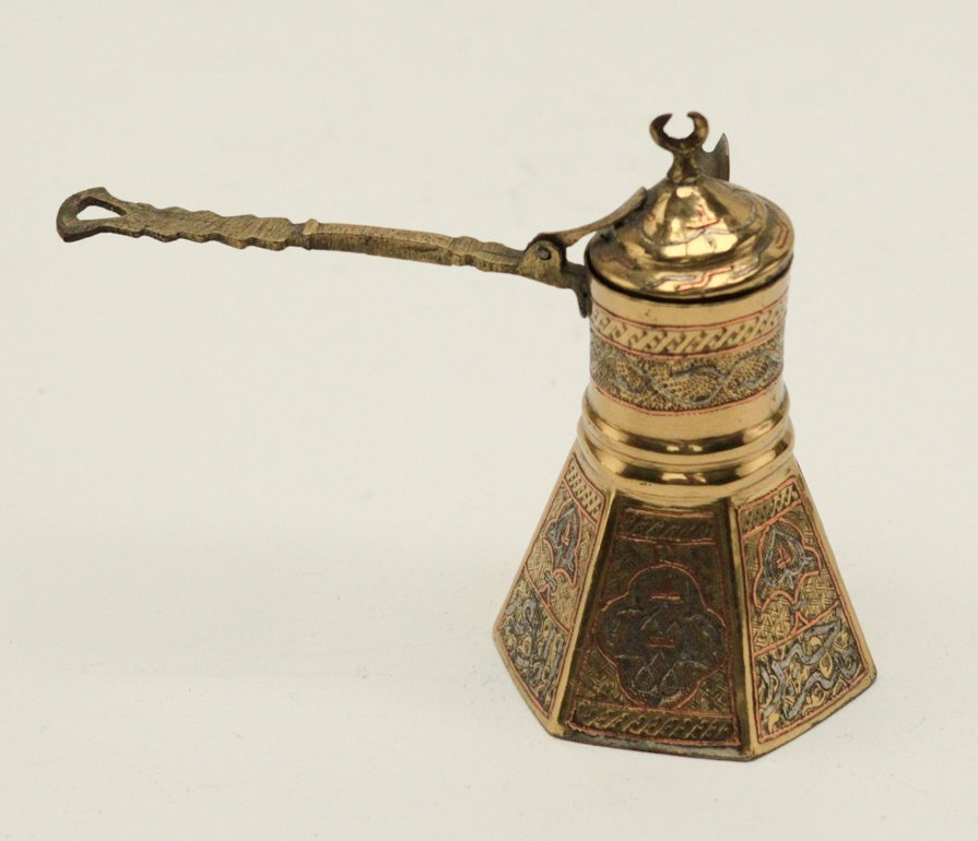 Turkish Brass Silver and Copper Inlay Coffee Pot - 2