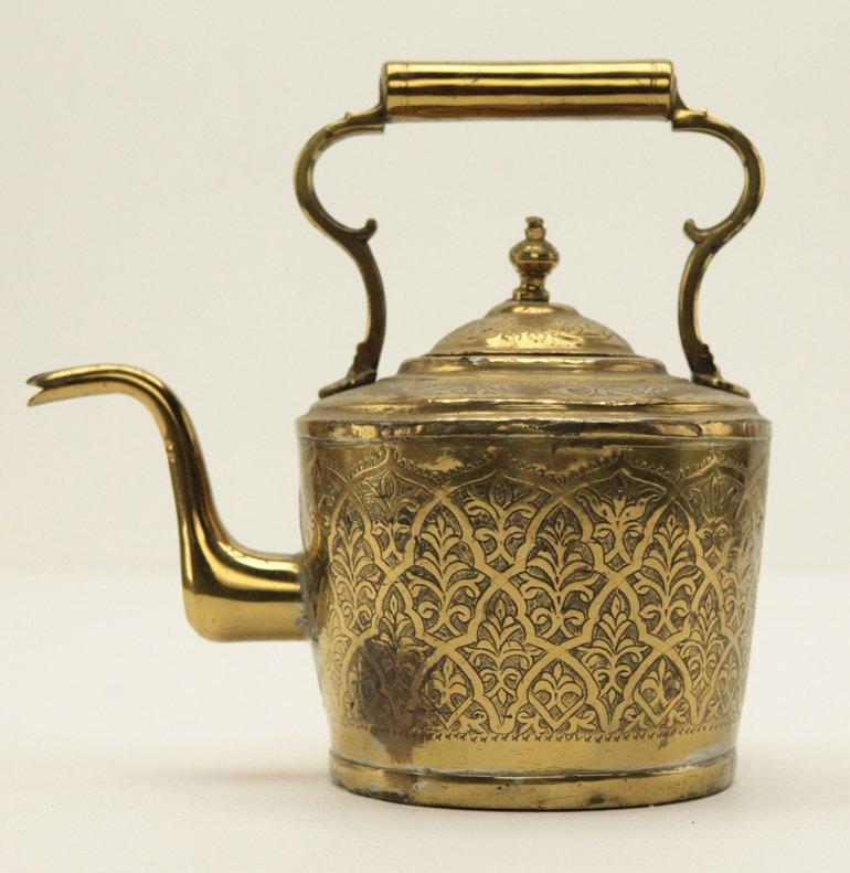 Turkish Brass Engraved Tea Kettle - 2