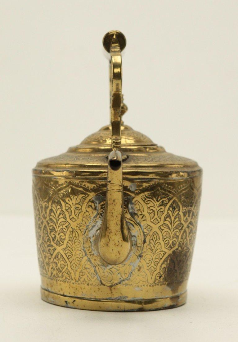 Turkish Brass Engraved Tea Kettle - 4