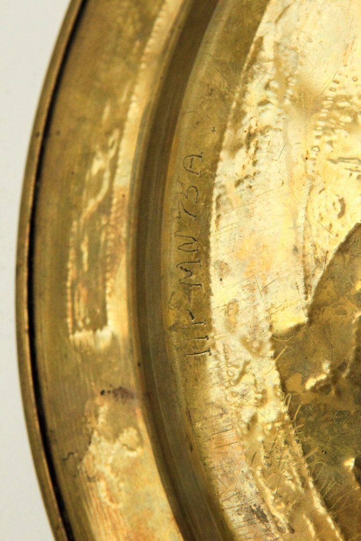 Islamic Brass Copper & Silver Inlay Plate - 3