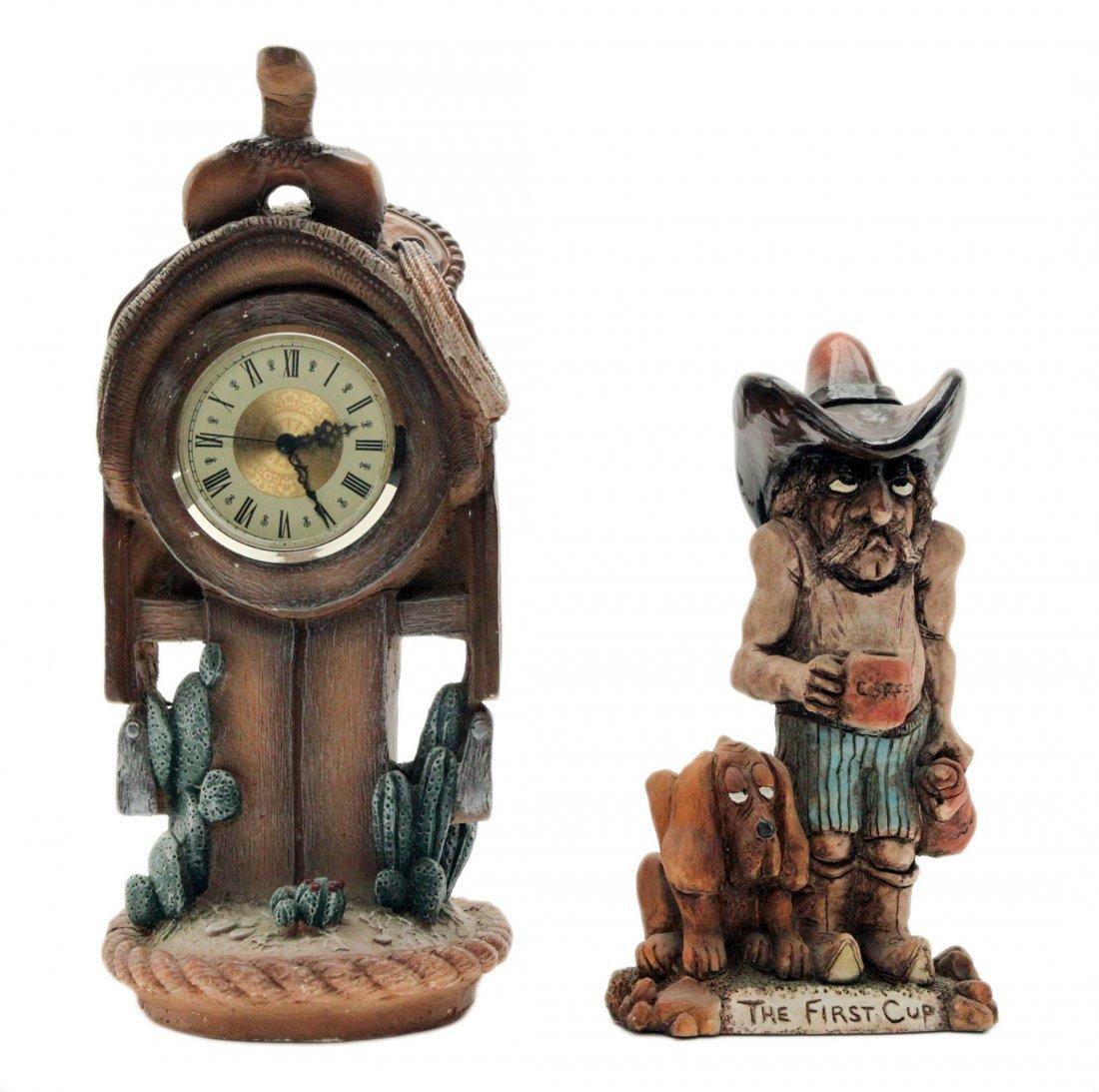 Vintage Cowboy and Horse Saddle Shelf Table Clock
