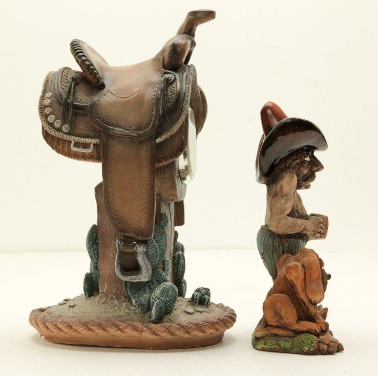 Vintage Cowboy and Horse Saddle Shelf Table Clock - 3