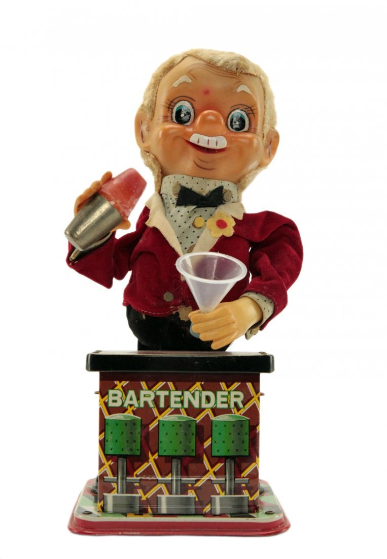 Vintage Charlie Weaver Tin Bartender Toy 1950's