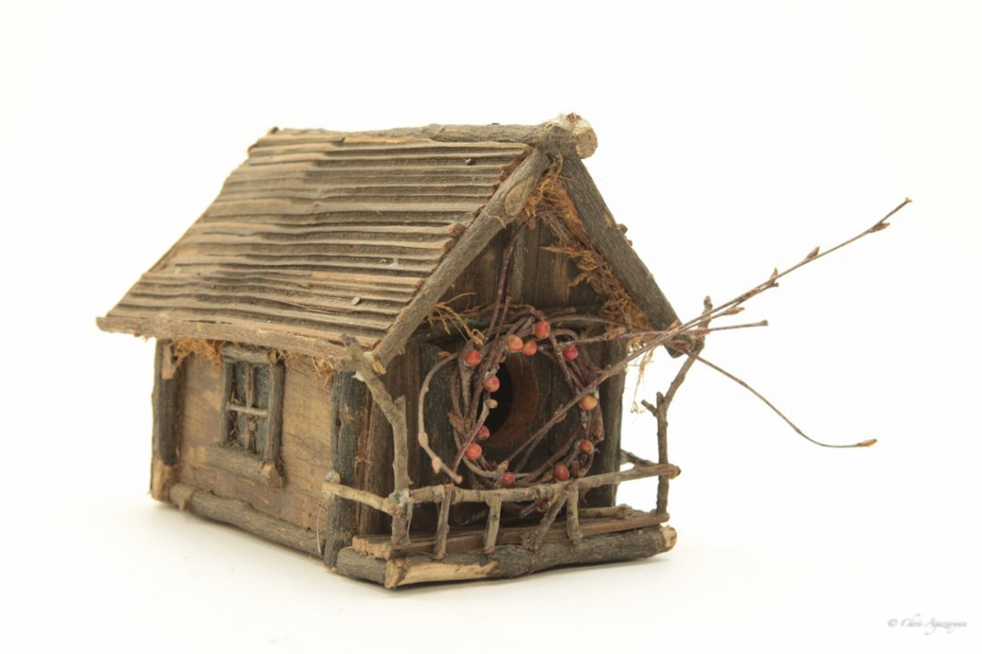 Vintage Primitive Hand Painted Wood Bird House - 2