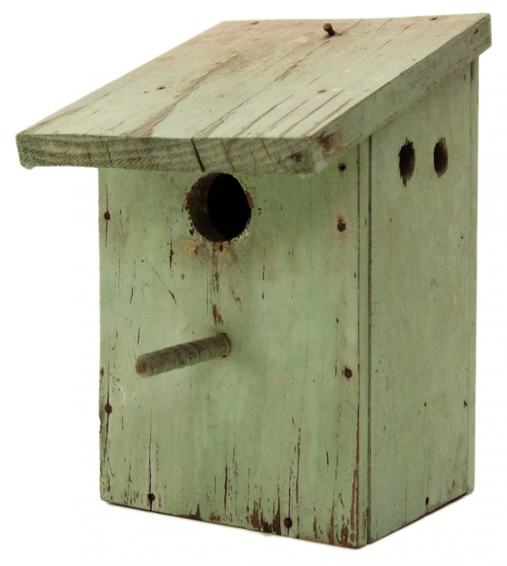 Vintage Primitive Hand Painted Wood Bird House