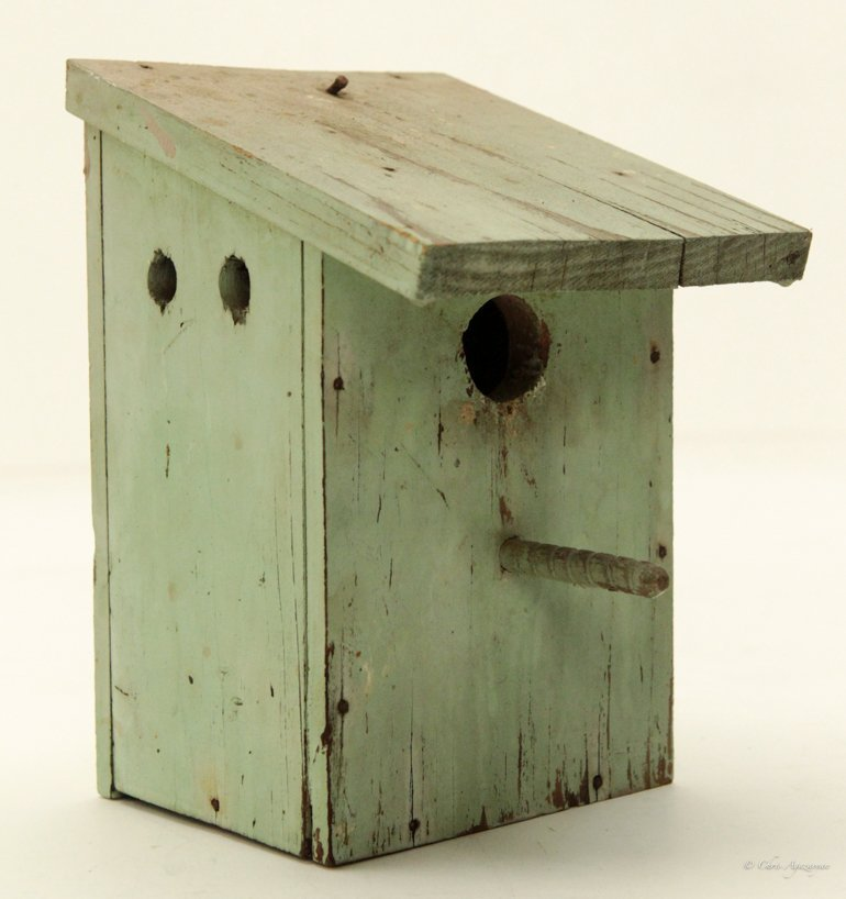 Vintage Primitive Hand Painted Wood Bird House - 2