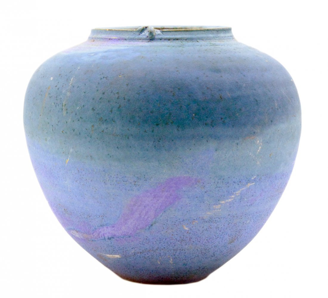 Matte Blue and Turquoise Hand Thrown Vase
