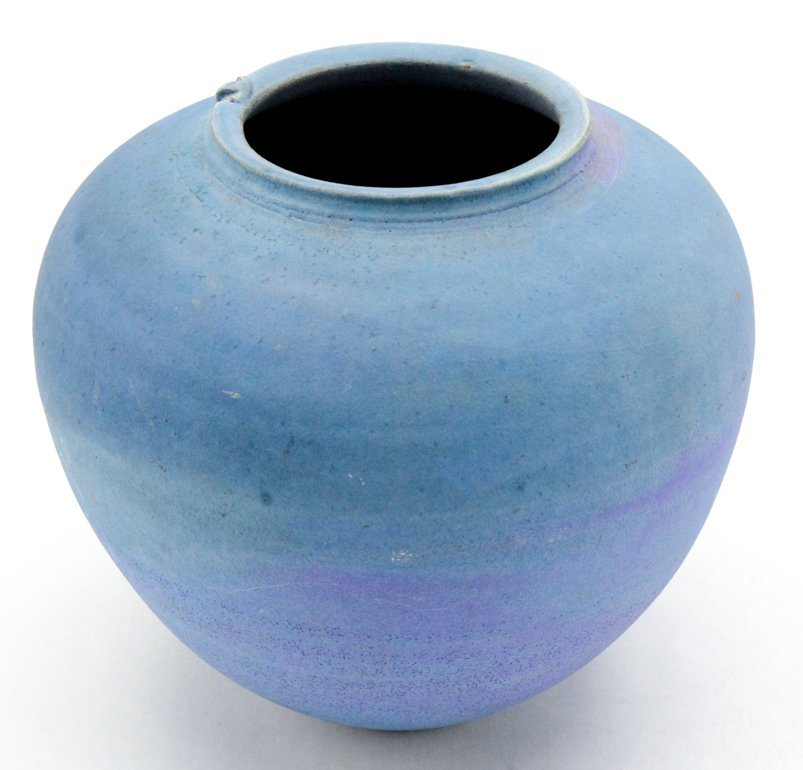 Matte Blue and Turquoise Hand Thrown Vase - 2