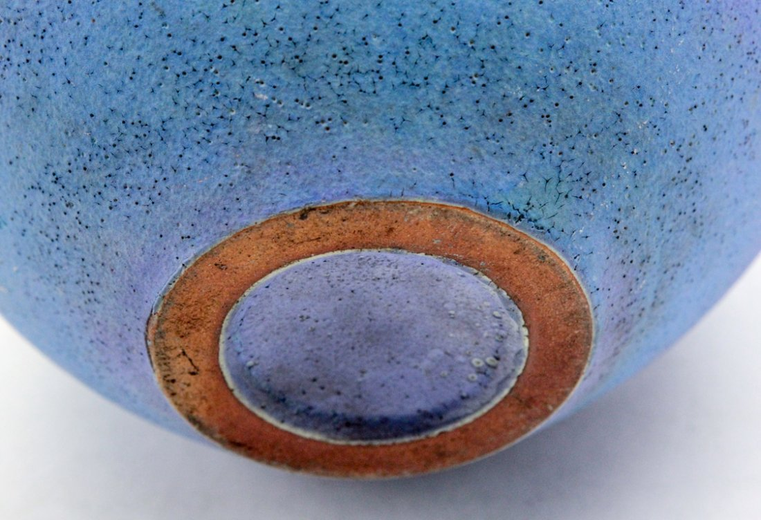 Matte Blue and Turquoise Hand Thrown Vase - 4
