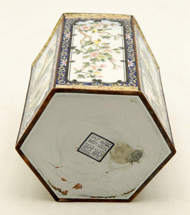 Chinese Enamel Hexagon Shape Brush Pot - 4