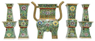 Chinese Porcelain Enamel Altar Set