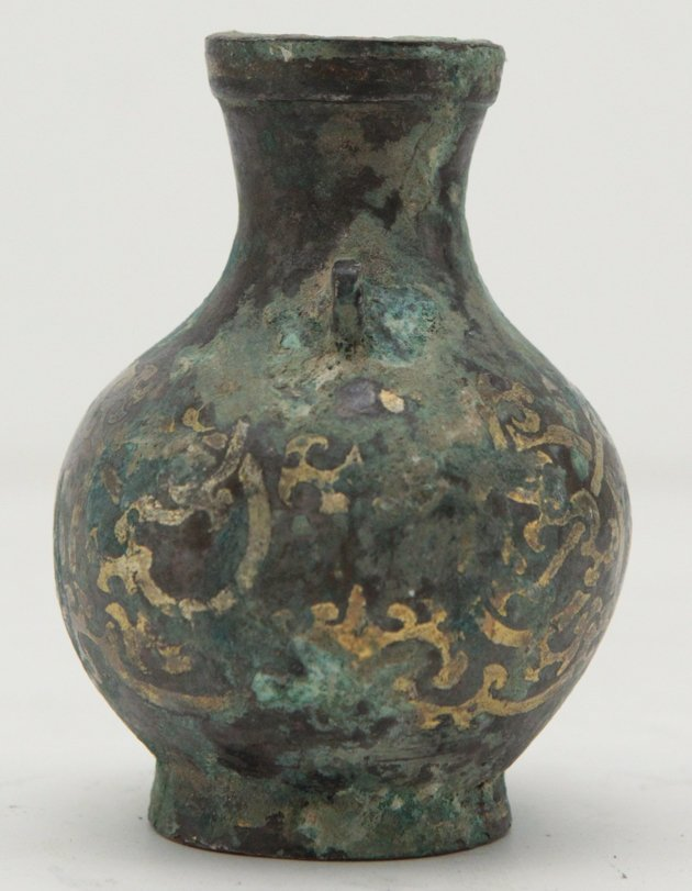 Chinese Small Bronze Gold Inlay Vase - 2