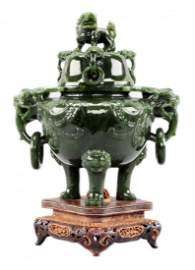 Chinese Spinach Jade Censer Incense Burner