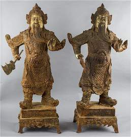 Pair of Chinese Guilt Cast Iron Warrior Statue
