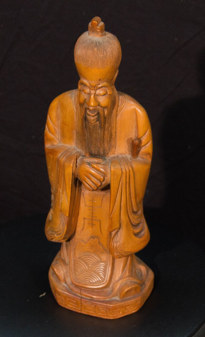 Chinese Carved Wooden Figure of Bearded Immortal man