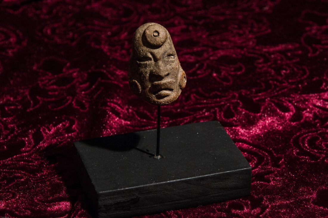 Pre Columbian Carved Stone Head with Display Stand