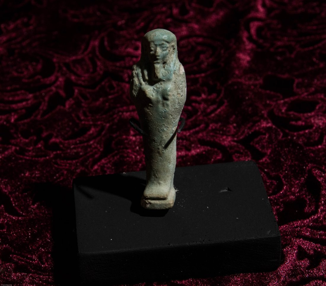 Late Period Egyptian Ushabti with Display Stand