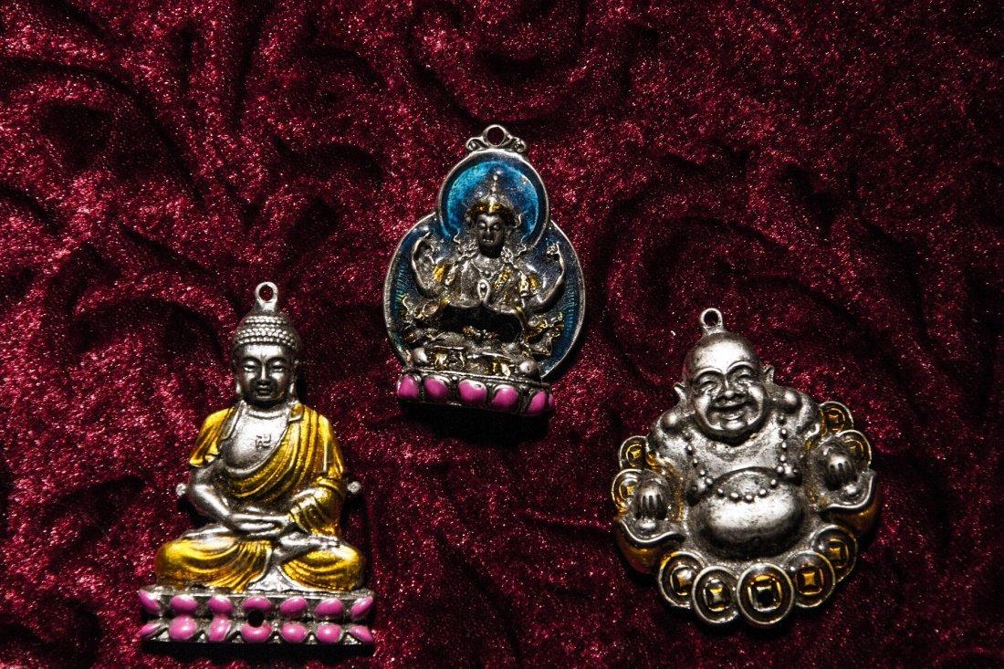 Lot of Three Vintage Buddhas Silver