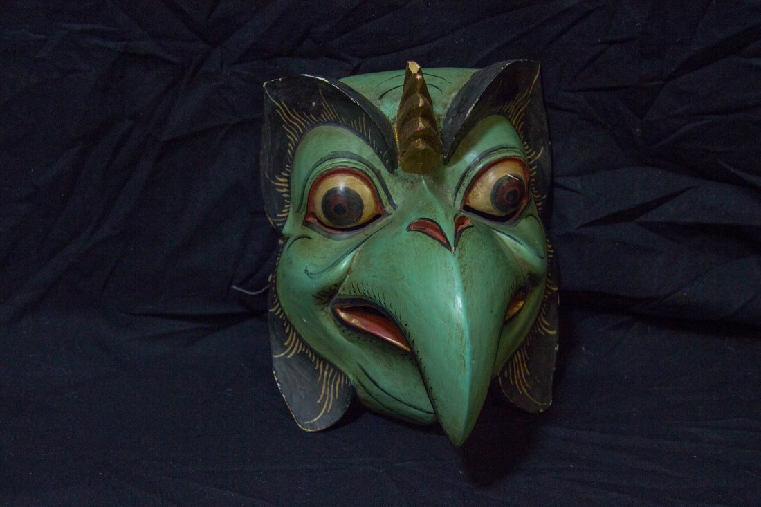 Asian / Nepal 19th / 20th Century Wood Carved Mask Bird