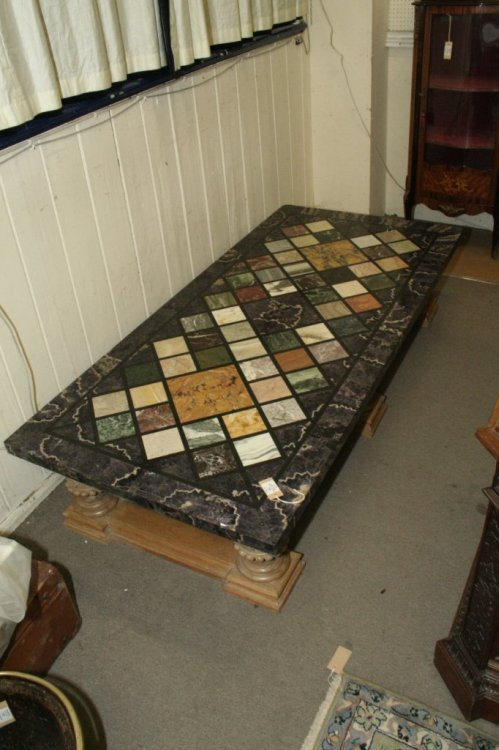 694: A modern specimen marble topped coffee table, 5ft