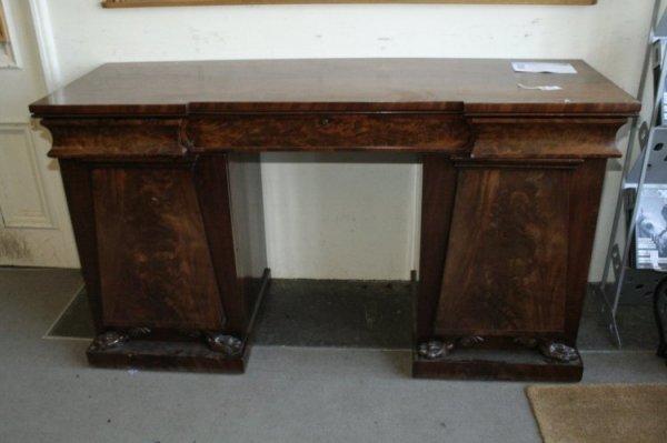 699: A Regency mahogany twin pedestal sideboard, 6ft