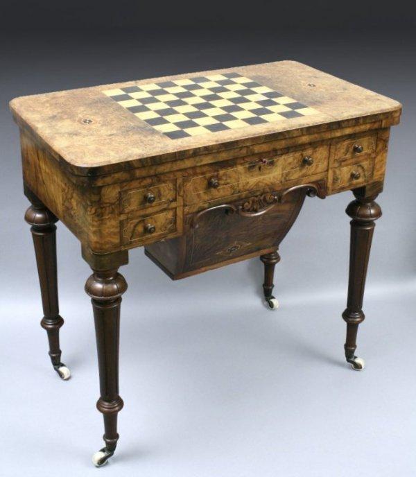 700: A Victorian burr walnut combination games work tab