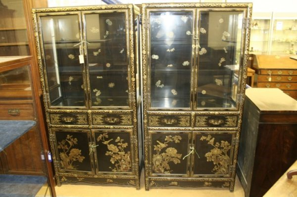 701: Pair early 20th century Chinese black lacquered di