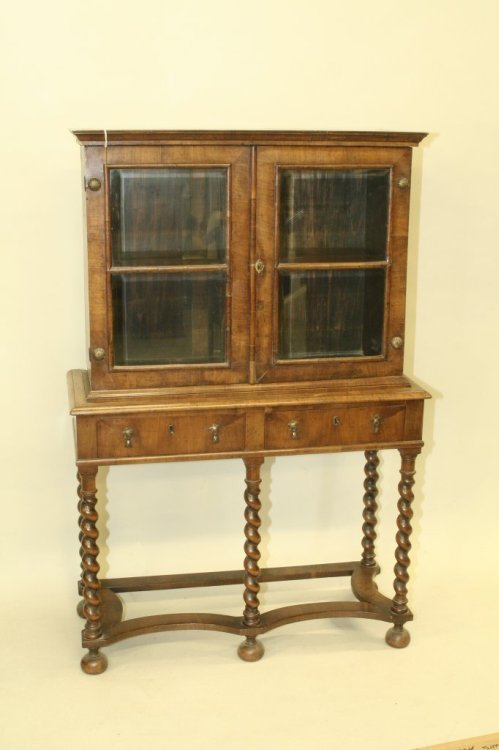 707: A William & Mary design walnut display cabinet, 3f