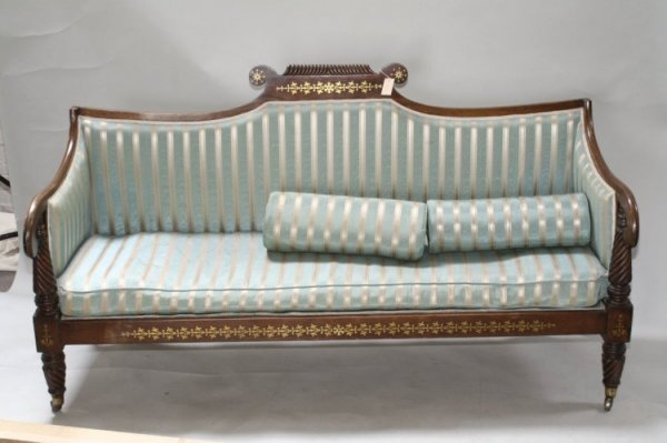 710: A Regency brass inlaid rosewood settee, 6ft