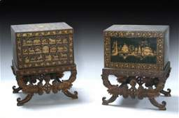 751: A pair of early 19th century Indian gilt and lacqu