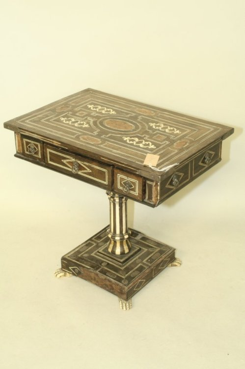 778: A mid 19th century Anglo-Indian ivory inlaid and w