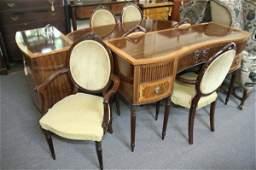 1091: A modern Sheraton design satinwood banded mahogan
