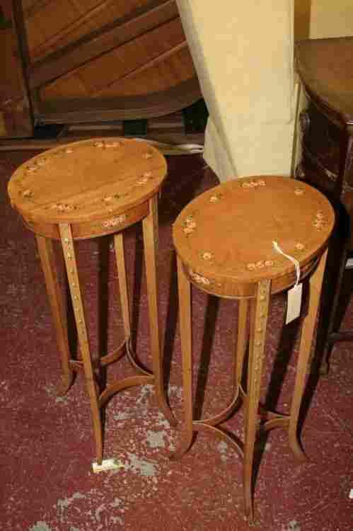 A pair of Sheraton design rose painted satinwood o
