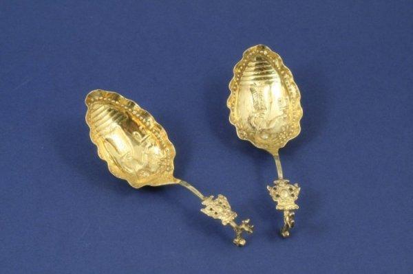 1275: A pair of 19th century Dutch silver gilt spoons,
