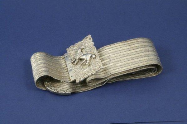 1290: A Middle Eastern silver white metal dress belt, 3