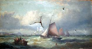 1985: 19th C. English School Fishing boats off Whitby,
