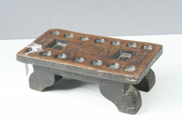 13: An 18th century oak Dutch gaming board, 12ins