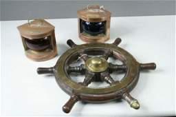 30 An early 20th century brass mounted oak ships wheel