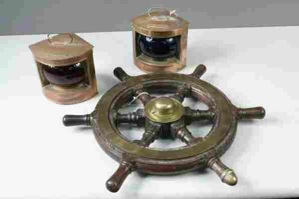 30: An early 20th century brass mounted oak ships wheel