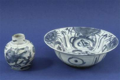512: A Chinese blue and white bowl and a small vase
