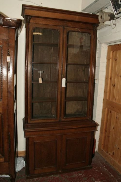 858: An Edwardian oak bookcase, 7ft 7ins x 3ft 10ins