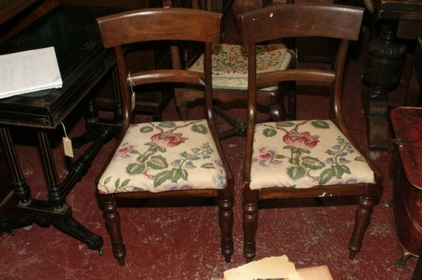 861: Five early Victorian mahogany dining chairs,
