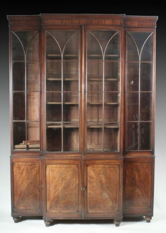 945: A Regency mahogany breakfront library bookcase, 5f
