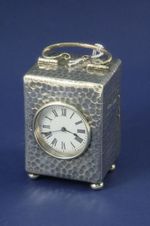 1486: An Edwardian silver carriage timepiece, 3ins